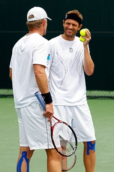 Mardy Fish and Mark Knowles wearing KT Tape